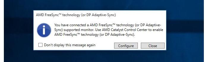 AMD FreeSync detected by the system.
