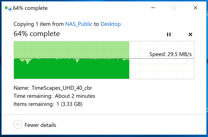 Transferring the 9.3GB movie TimeScapes 15 metres from the Taipan